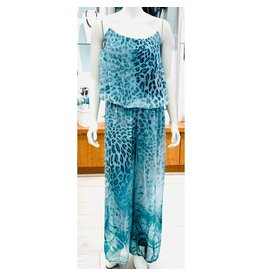 Teal Cheetah Silk Jumpsuit