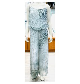 Grey Cheetah Silk Jumpsuit