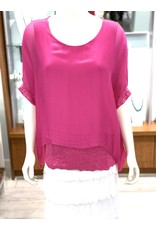 Fuchsia Silk Sequin Layer Top