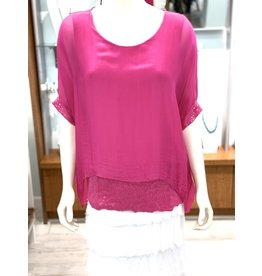 Hot Fuschia Silk Sequin Layer Top
