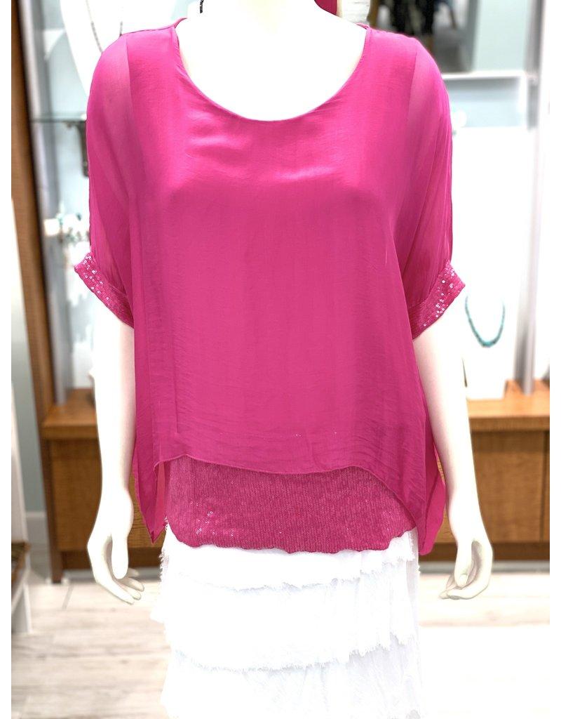 Hot Fuschia Silk Sequin Layer Top
