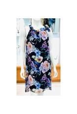 Black Silk Floral Halter Dress