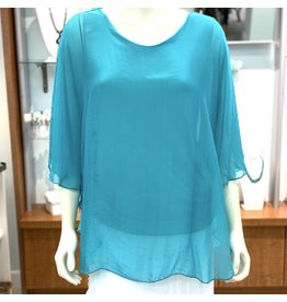 Turquoise Silk Angel Top