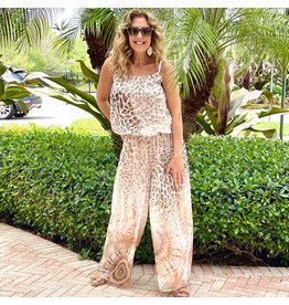 Tan Cheetah Silk Jumpsuit