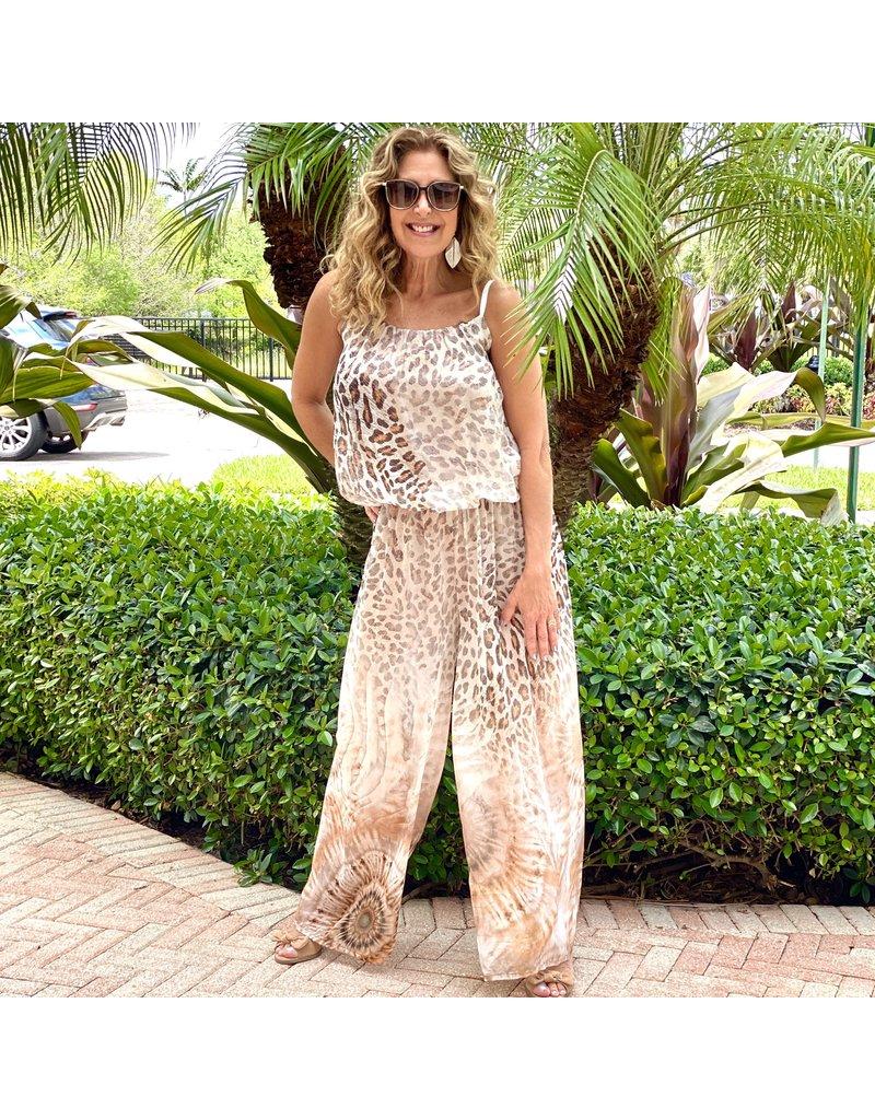 Tan Cheetah Silk Jumpsuit