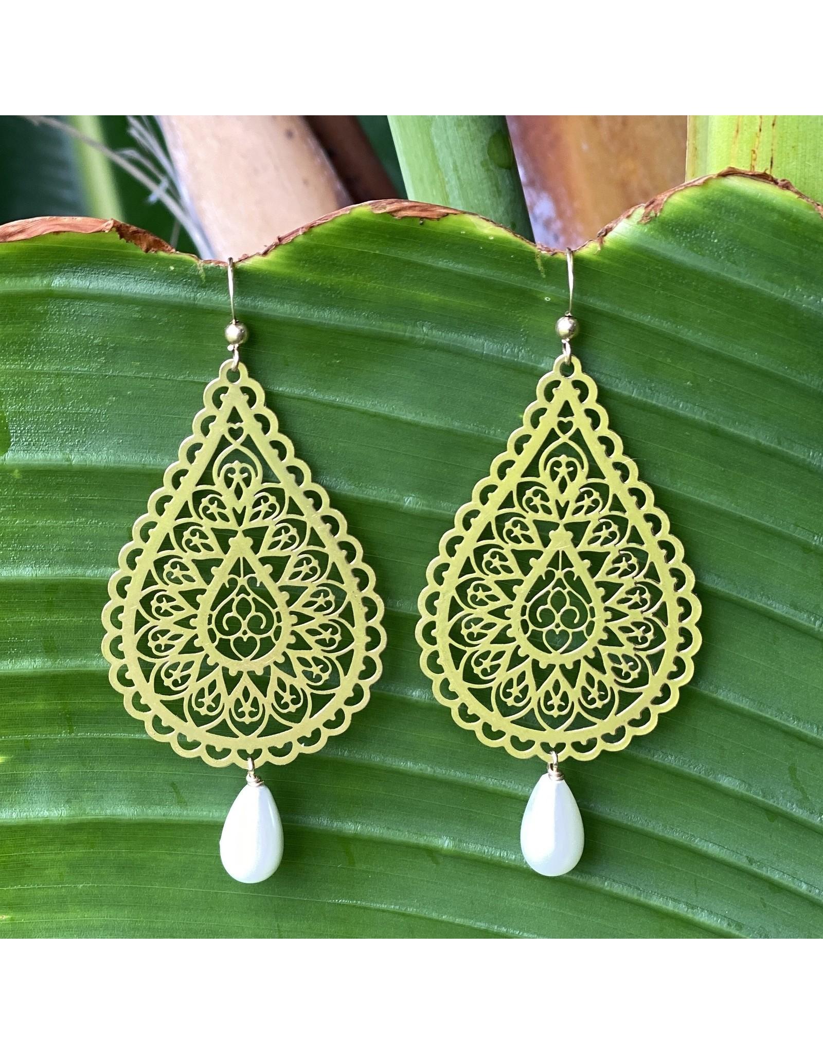 Gold Filigree Shell Pearl Drop Earrings