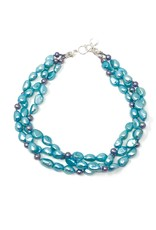 Turquoise & Peacock Pearl Triple Strand