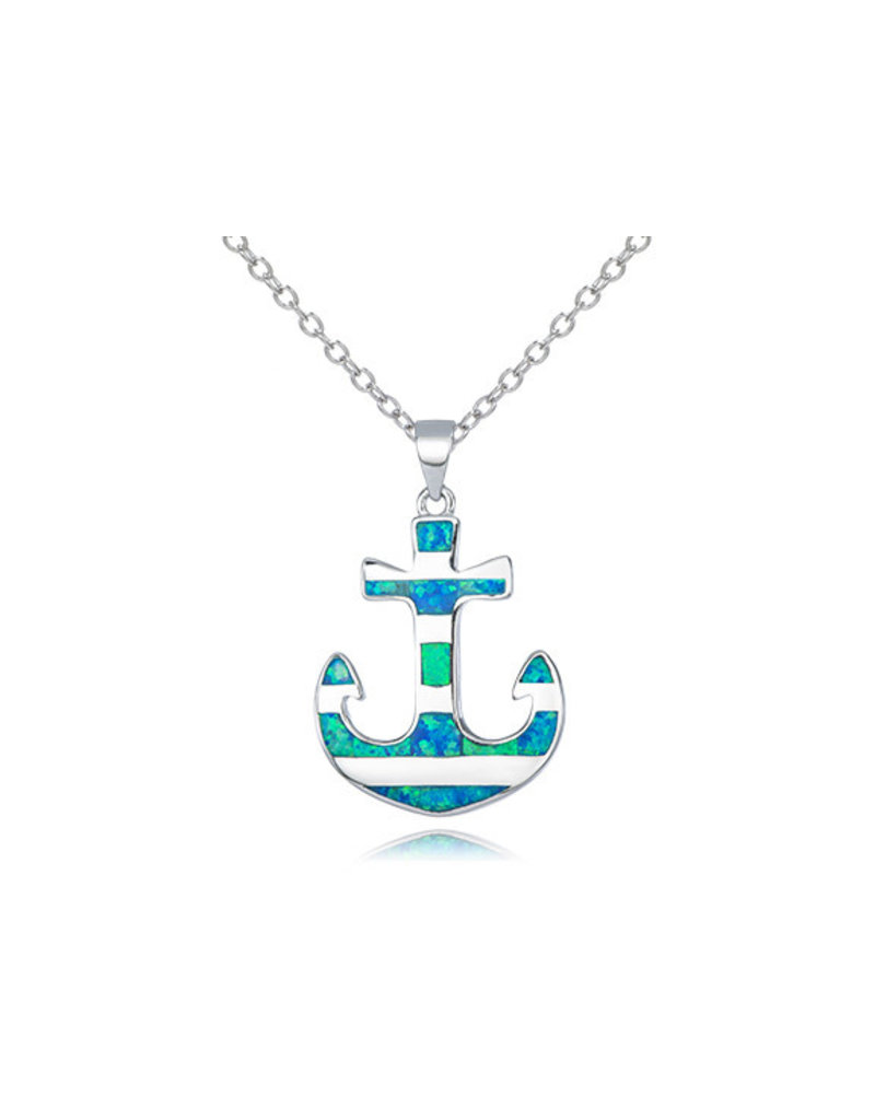 Striped Opal Anchor Pendant