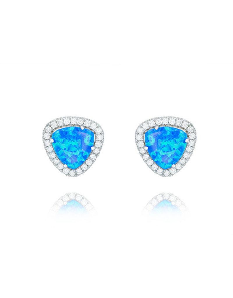 CZ Triangle Opal Earrings