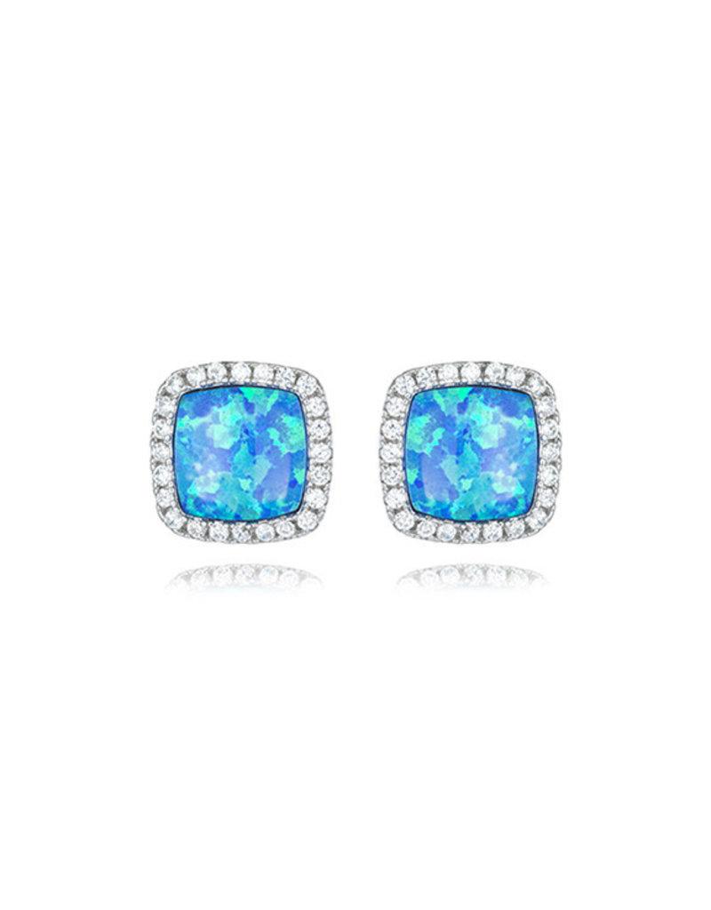 CZ Square Opal Earrings