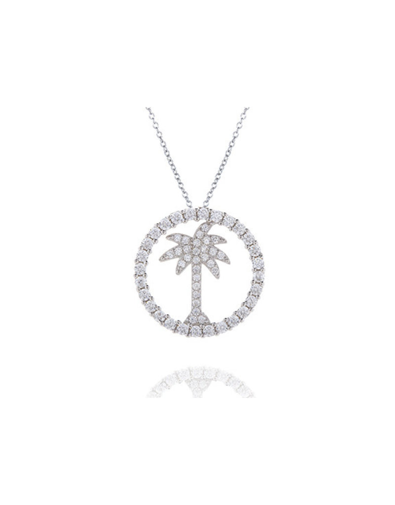 CZ Circle Palm Tree Pendant