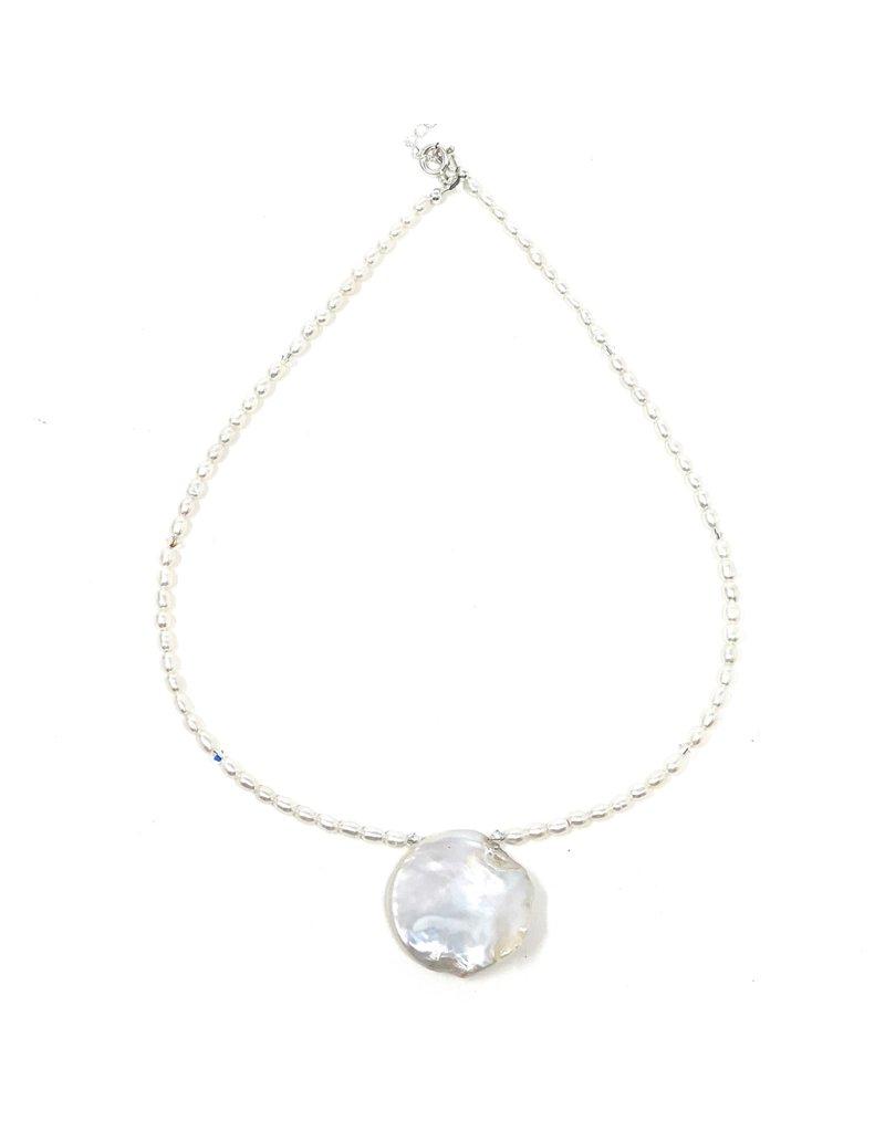 Round Keshi, Rice Pearl & Swarovski Necklace