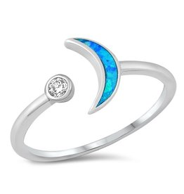 Opal Crescent Moon Ring