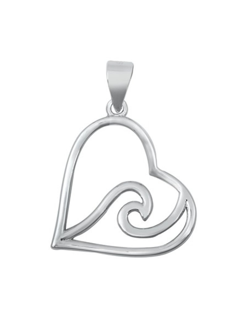 Sterling Heart Wave Pendant
