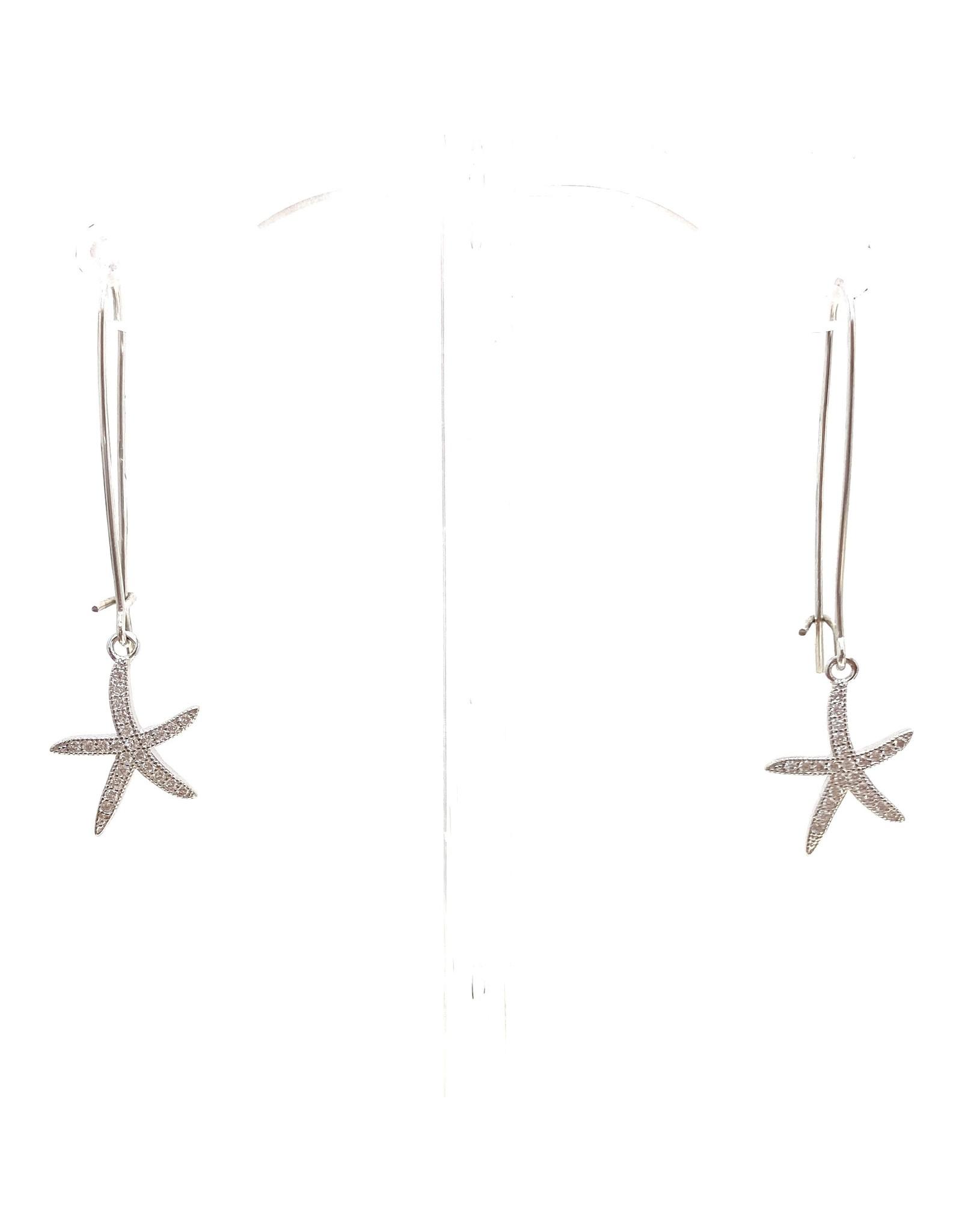 Silver CZ Starfish Long Dangle Earrings
