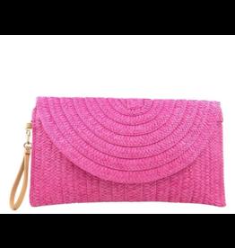 Pink Zoe Straw Clutch