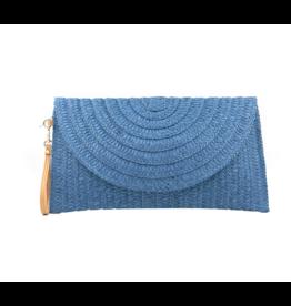 Blue Zoe Straw Clutch