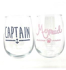 Kenna's Custum Glasses Captain/Mermaid STMLS Glass Set