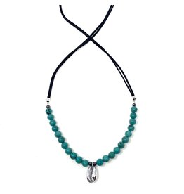 Turquoise (H), Suede & Silver Cowrie