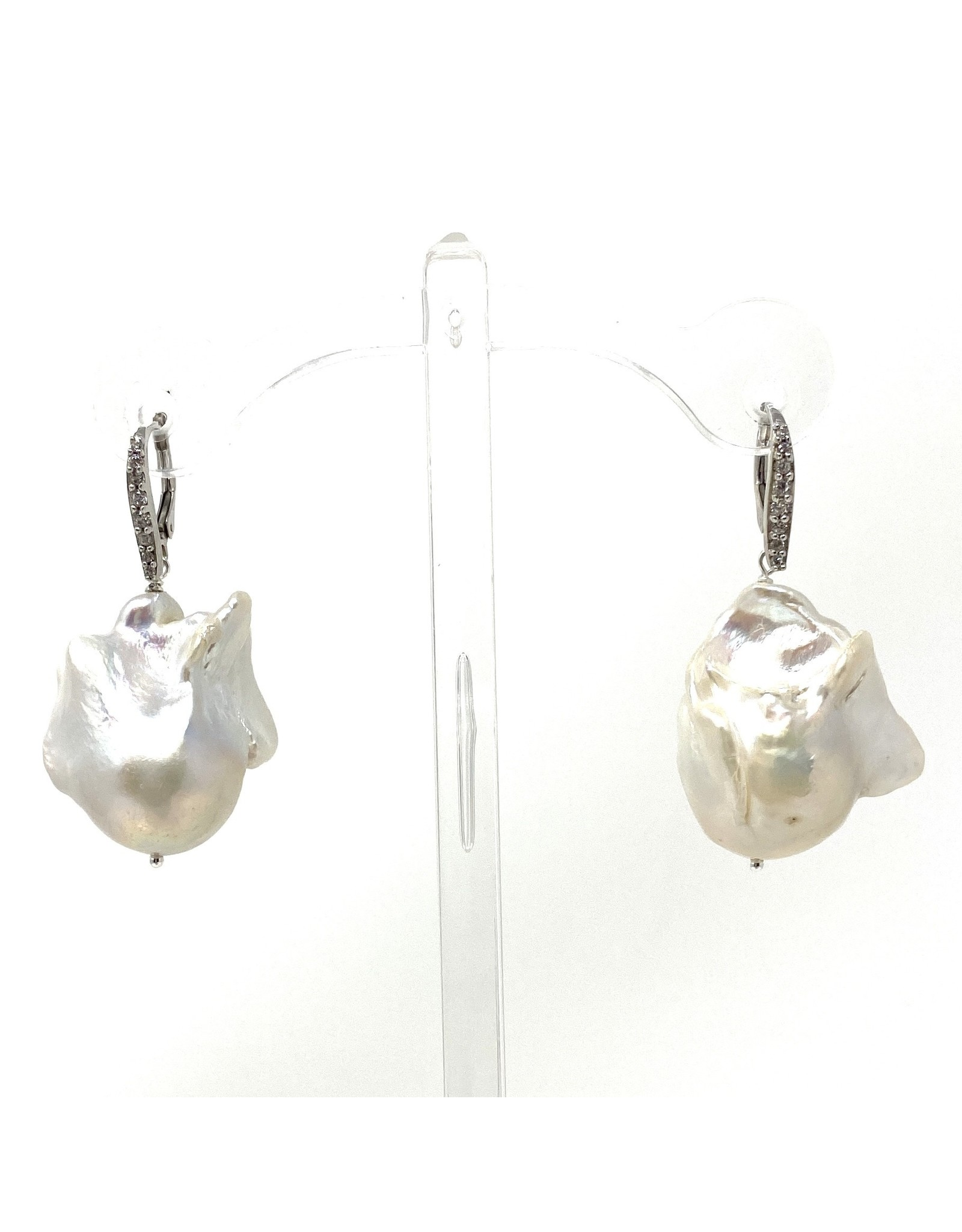A++ Lg. Baroque CZ Leverback Earrings