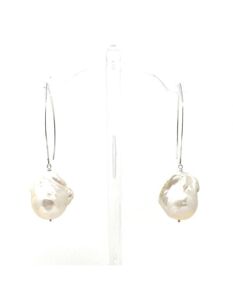 Lg. Baroque Pearl Large Hook Earrings