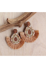 Bali Queen Sand Beaded Fan Earrings