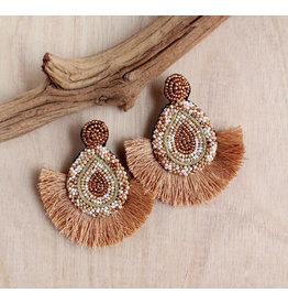 Bali Queen Sand Beaded Fan Earrings
