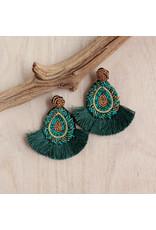 Bali Queen Emerald Beaded Fan Earrings