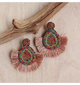 Bali Queen Rainbow Beaded Fan Earrings
