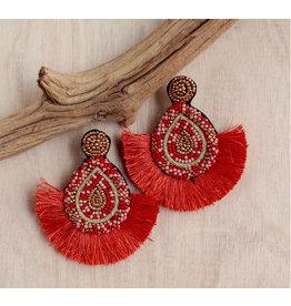 Bali Queen Coral Beaded Fan Earrings