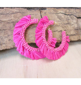 Bali Queen Pink Raffia Hoop Earrings