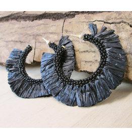 Bali Queen Black Raffia Hoop Earrings