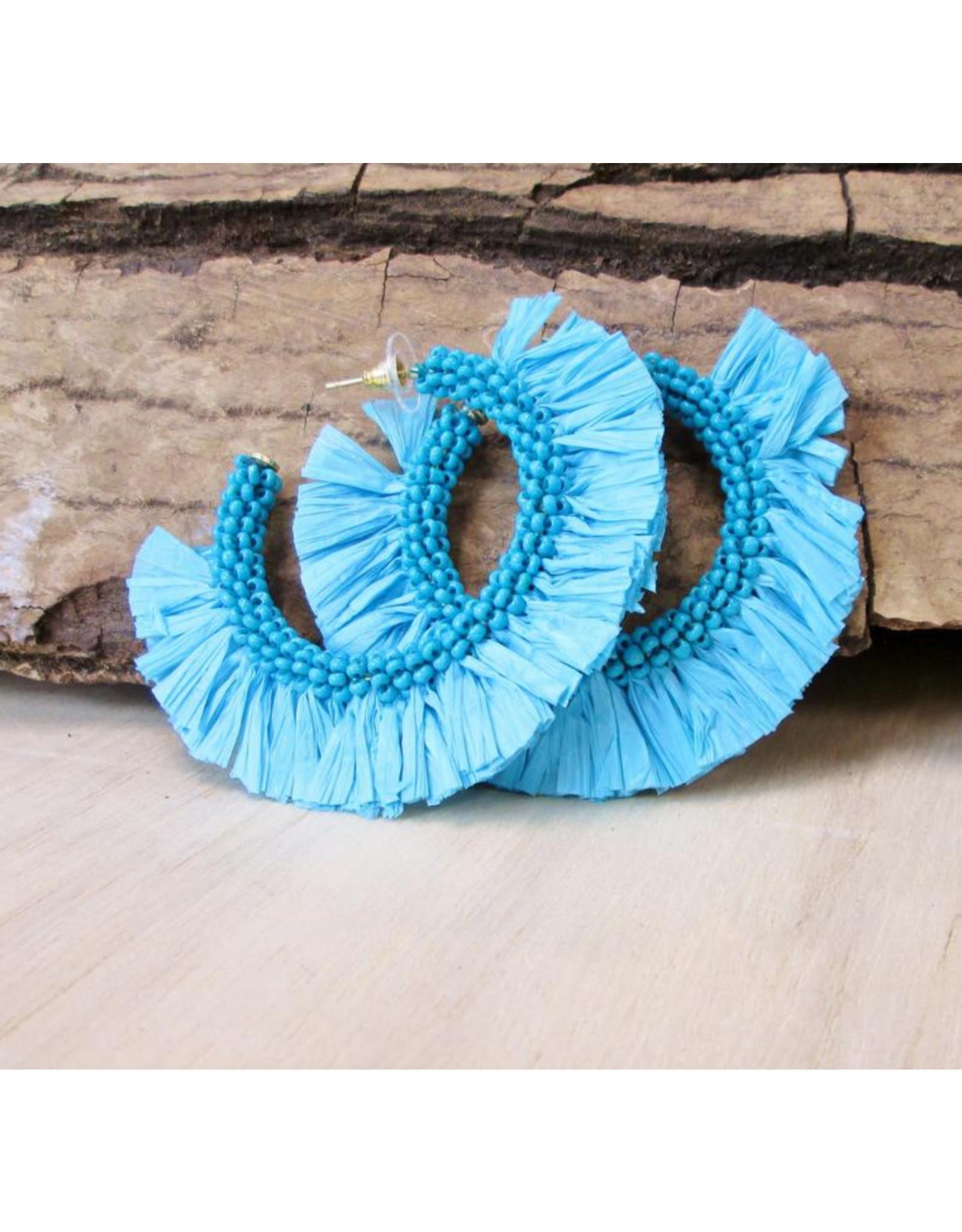 Bali Queen Turquoise Raffia Hoop Earrings