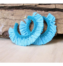 Bali Queen Turquoise Raffia Hoop Earrings