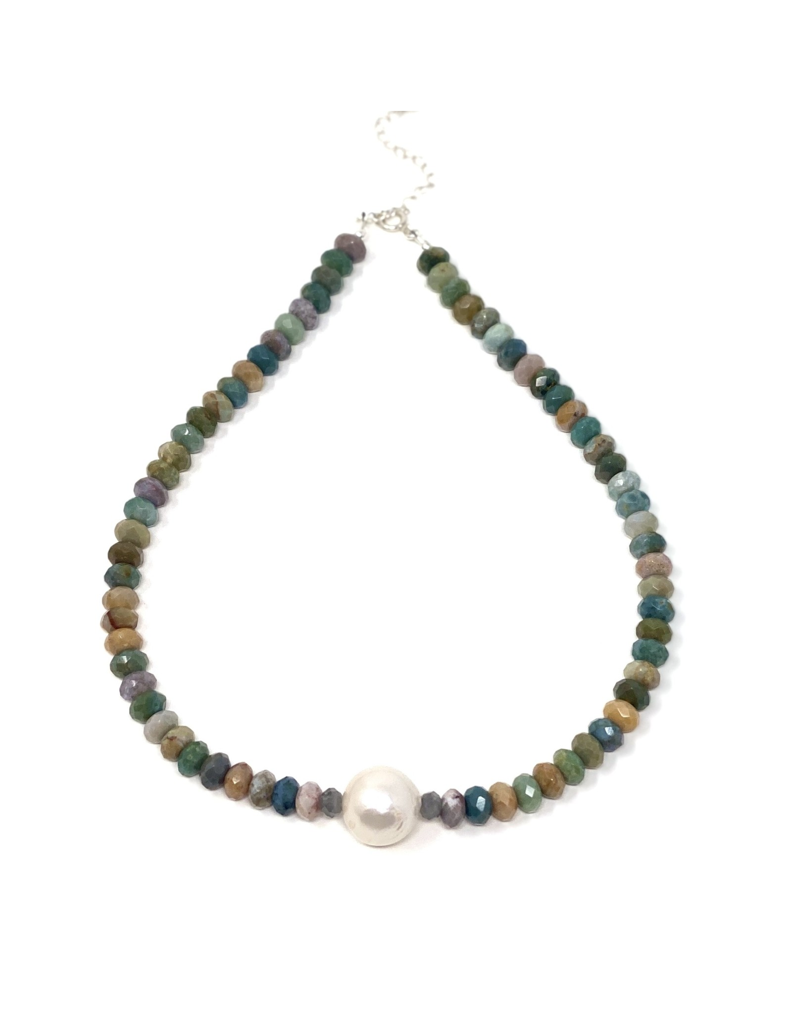 Faceted Jasper & Baroque Pearl Necklace