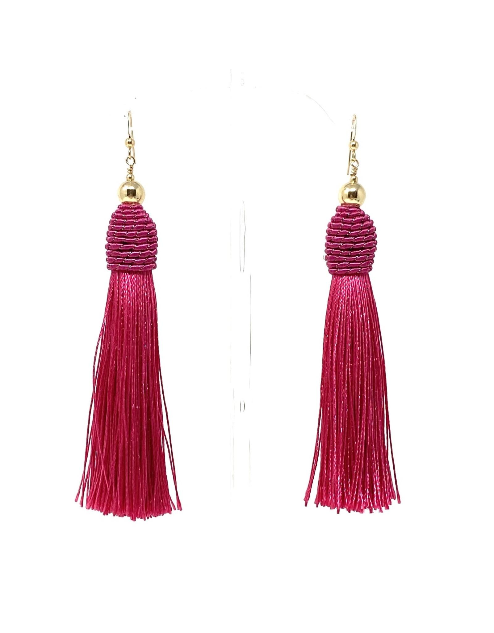 Gold Fuschia Tassel Earrings