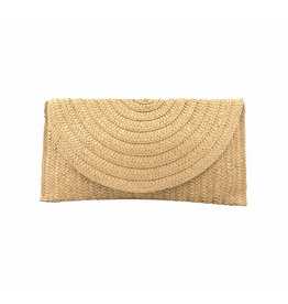 Beige Zoe Straw Clutch