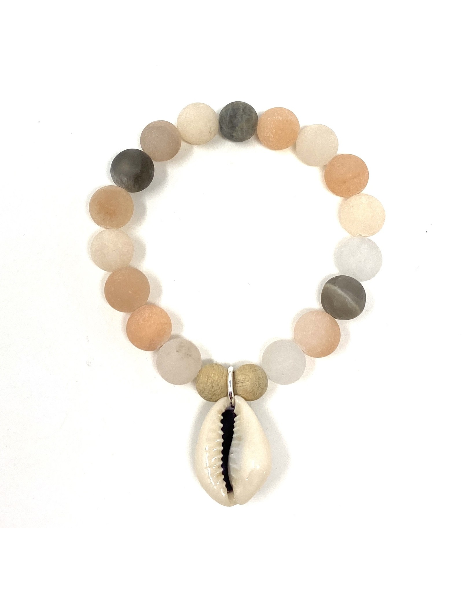 Matte Pink Moonstone & Cowrie