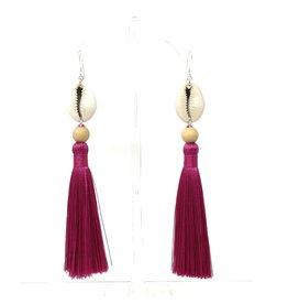 Fuchsia Cowrie Tassel Earrings