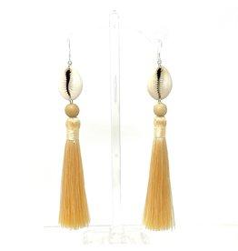 Lemon Cowrie Tassel Earrings