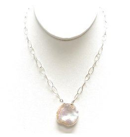 Round Keshi Pearl on Dia. Cut Chain