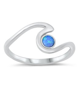 Opal Dot Wave Ring