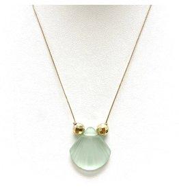 Green Sea Glass SF & Gold on Silk