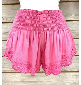 Hot Pink Embroidered Shorts