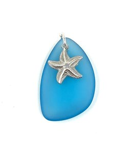 Aqua Sea Glass & Starfish Peandant