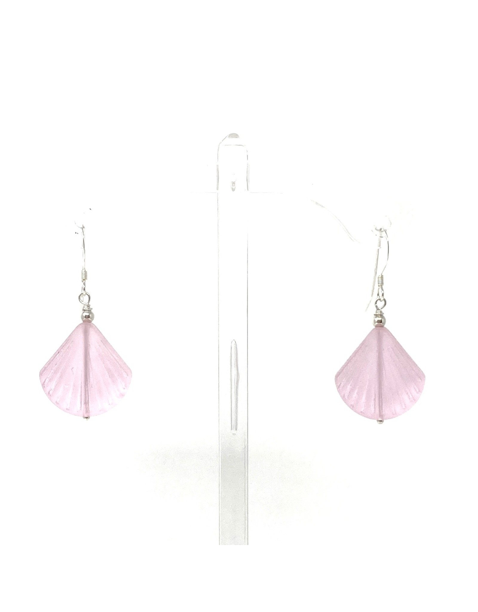 Pink Sea Glass Shell Earrings