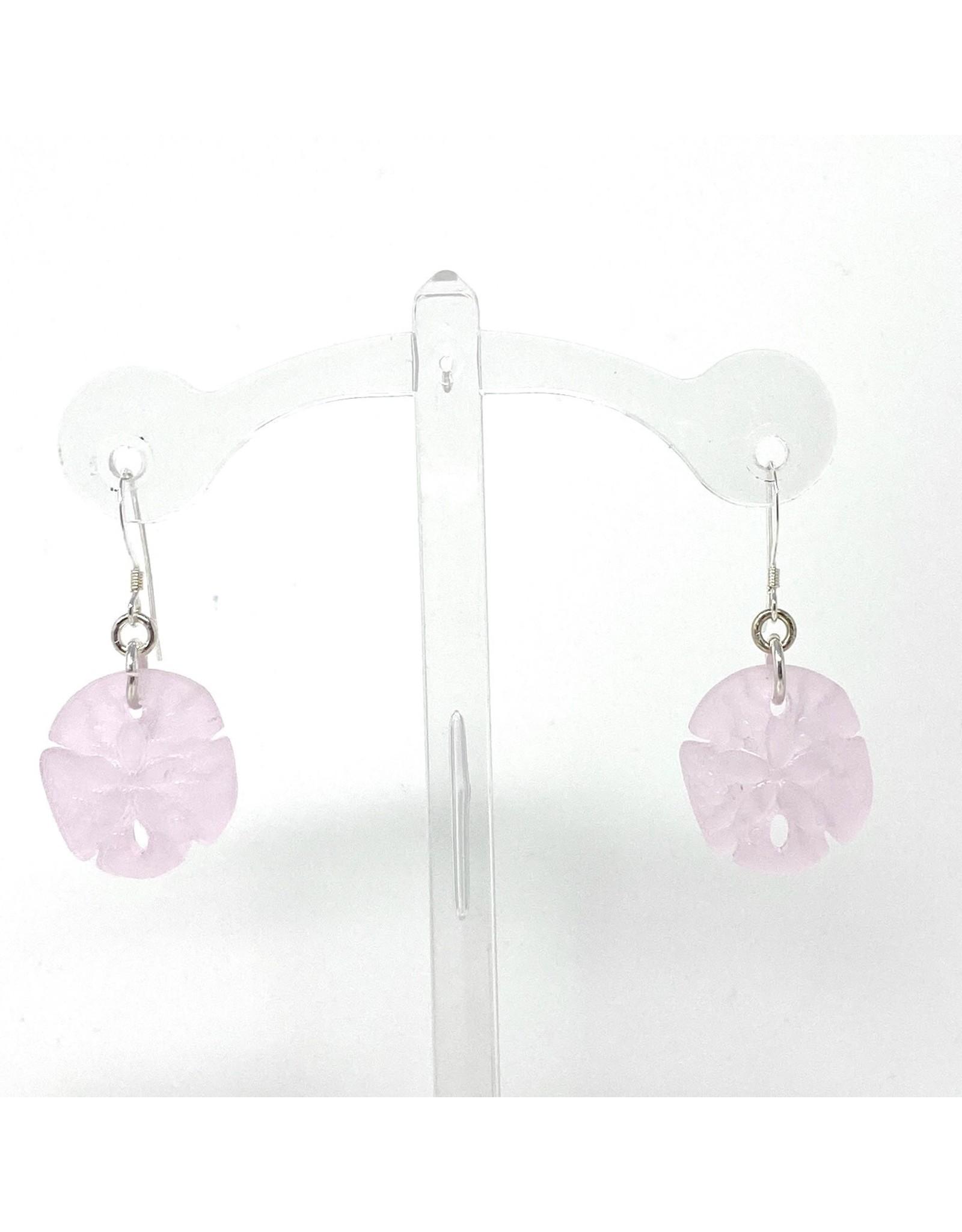 Pink Sea Glass Sand Dollar Earrings