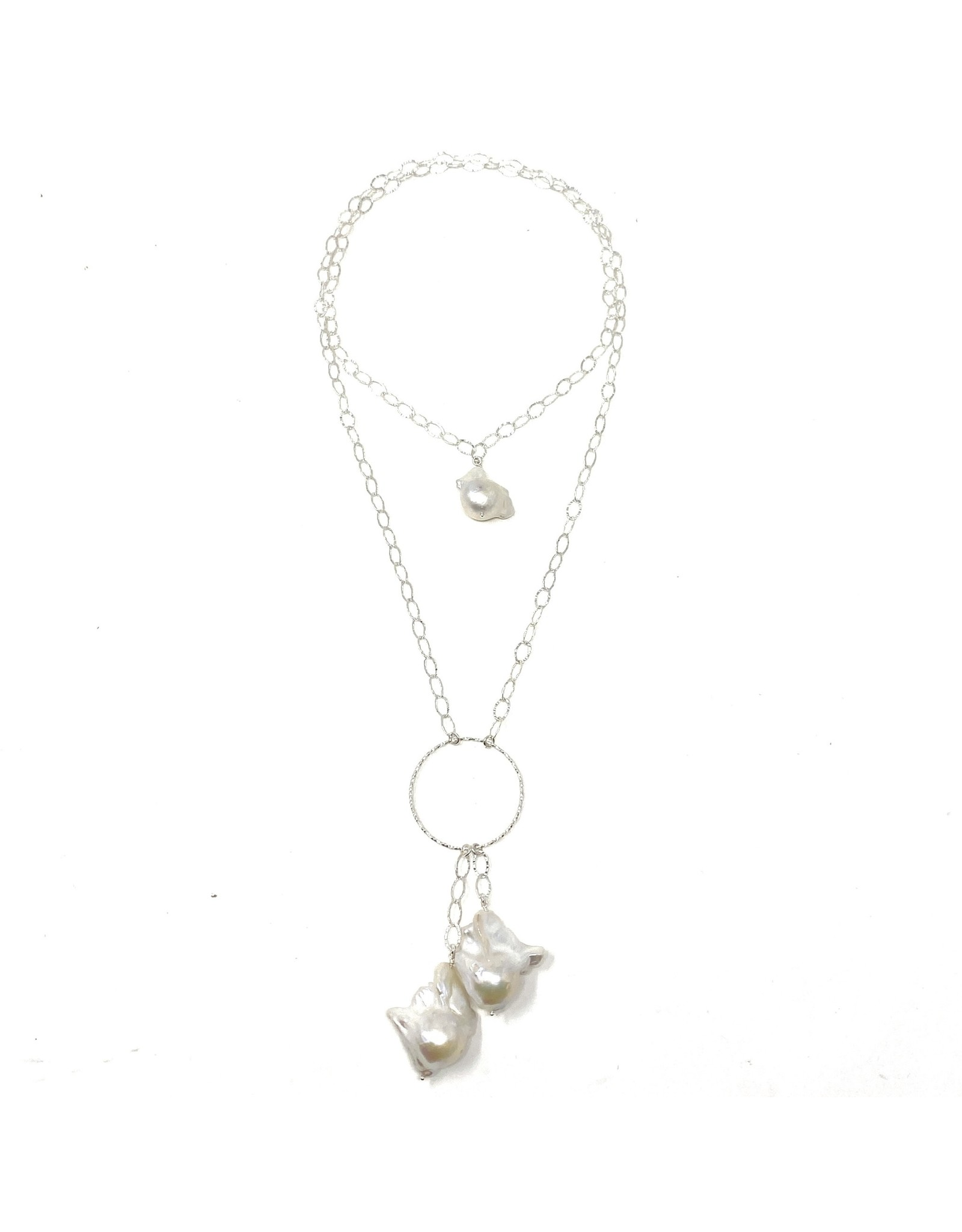 Baroque Pearl & Hammered Chain Necklace