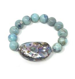 Abalone & Ocean Agate Bracelet