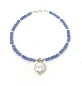 Chalcedony & FWP Silver Anklet